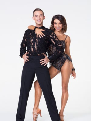 """Olympian Adam Rippon, pictured with Jenna Johnson, will appear on """"Dancing With the Stars: Athletes"""" on ABC."""