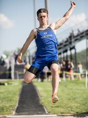 On day one of the 2108 SVC Track and Field Championships, Southeastern's Lane Ruby soared passed his competition and took first place in the men's long jump with a distance of 20-04.