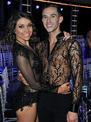 """Adam Rippon and Jenna Johnson attend ABC's """"Dancing With The Stars: Athletes"""" Season 26 show on April 30."""