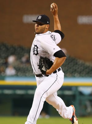 Detroit Tigers reliever Joe Jimenez throws an eighth-inning pitch against the Cleveland Indians at Comerica Park on May 14, 2018.
