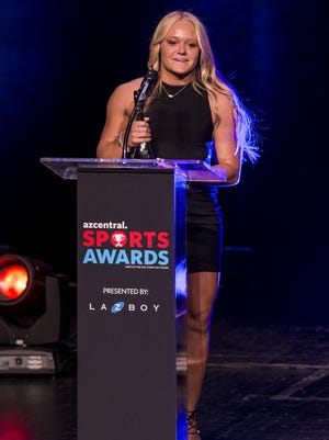 Pinnacle's Marissa Schuld accepts the award for Softball Player of the Year during the azcentral Sports Awards at ASU Gammage in Tempe June 10, 2018.