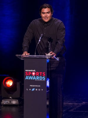 Desert Edge's Tyson Jones accepts the award for Boys Track and Field Athlete of the Year during the azcentral Sports Awards at ASU Gammage in Tempe June 10, 2018.