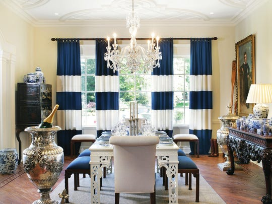 Guests who enter this Saddle River dining room will