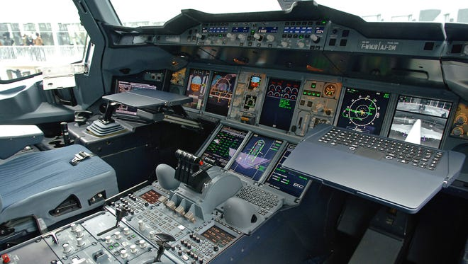 In a fly-by-wire aircraft, such as the Airbus A380, the pilot inputs commands via a sidestick or yoke to a computer.