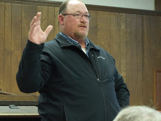 Marion County Justice of the Peace Brady Madden talks Tuesday night about supporting C&H Hog Farm in Mt. Judea.