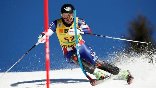 United States' Nolan Kasper speeds down the course
