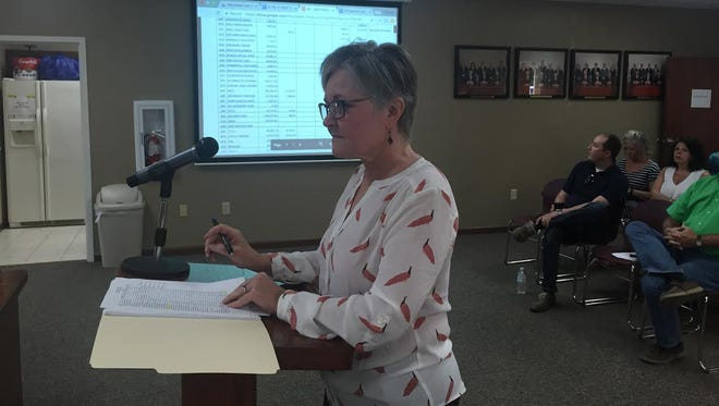 Mountain Home School District business manager Ann Harned presents the district's financial reports to board members during a meeting Thursday. Board members agreed to purchase Chromebooks, security cameras and Apple TVs.
