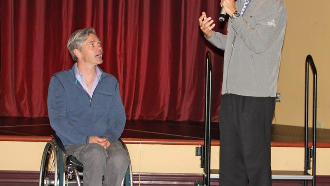 Andre Carrier, right, and Chris Waddell chat during a Q&A session during a recent event at Eureka Casino Resort.
