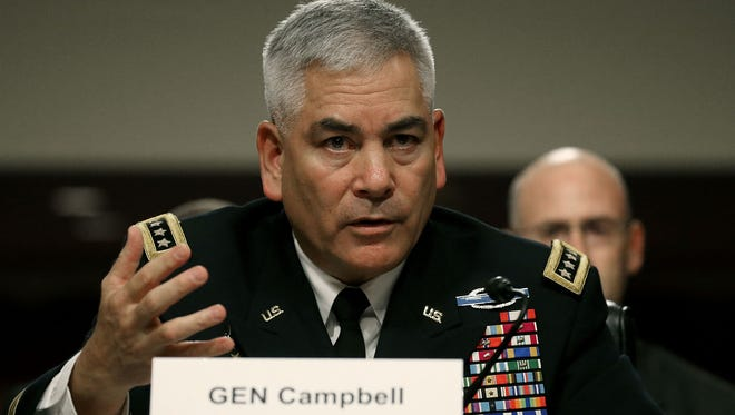 U.S. Army Gen. John Campbell commander of the Resolute Support Mission and United States Force Afghanistan, testifies on Oct. 6, 2015, during a Senate Armed Services Committee hearing on Capitol Hill.