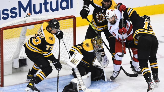 The Bruins will be tasked with protecting goaltender Jaroslav Halak from the high-flying and physical Tampa Bay Lightning in the second round of the NHL playoffs.