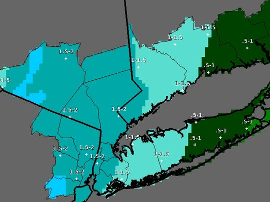 The Lower Hudson Valley is expected to see 1.5 to 2
