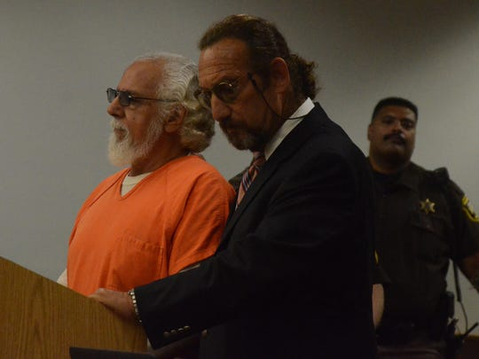 Mario Barroso, left, with his attorney Seymour Schwartz at Barroso's sentencing Monday in Calhoun County Circuit Court.