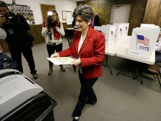 Republican Senate candidate State Sen. Joni Ernst casts