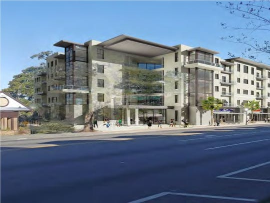 Early rendering of the 4Forty North Apartments, a mixed use development with 257 apartments and commercial space.