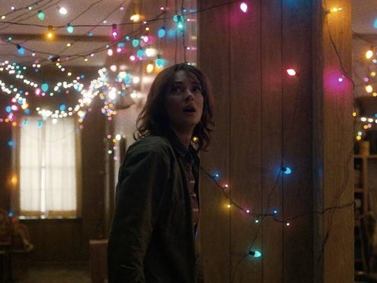 Joyce (Winona Ryder) manages to communicate with missing son, Will, through the electricity of Christmas lights.