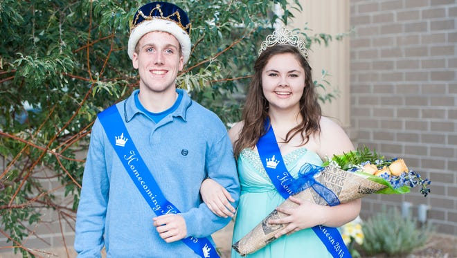 Joe McGuire and Mattea Erickson were crowned king and queen during the homecoming coronation ceremony at Great Falls Central Catholic High School Thursday, Oct. 8, 2015.