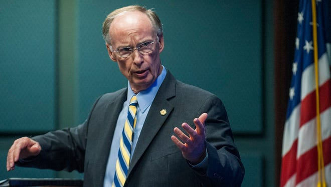 Alabama Gov. Robert Bentley speaks at the Governor's Summit on Alabama Veteran Employers on Tuesday, Nov. 10, 2015, in Montgomery, Ala. On Sunday, Nov. 15, 2015, Bentley said he would refuse to accept Syrian refugees in wake of Paris terror attacks.