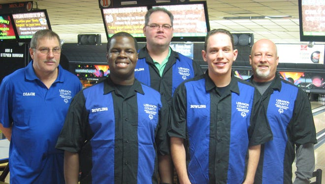 The Lebanon County Special Olympics Unified Bowling Team  is set to bowl in Reno, Nev. Pictured are, front row from left, athletes Tim Moore and Christian Murphy, back row from left, coach Floyd Knight, unified partners Corey Swisher and Sterling Blouch.