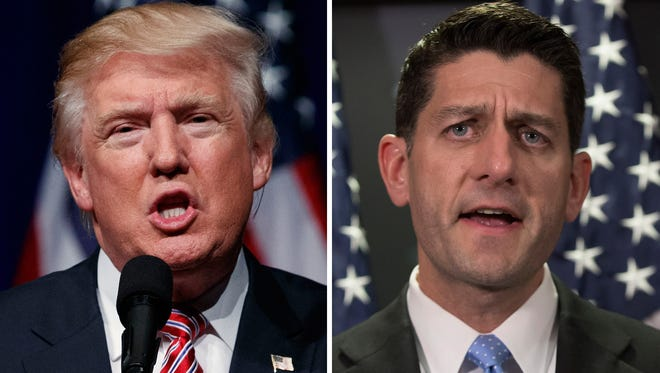 Republican presidential nominee Donald Trump and House Speaker Paul Ryan.