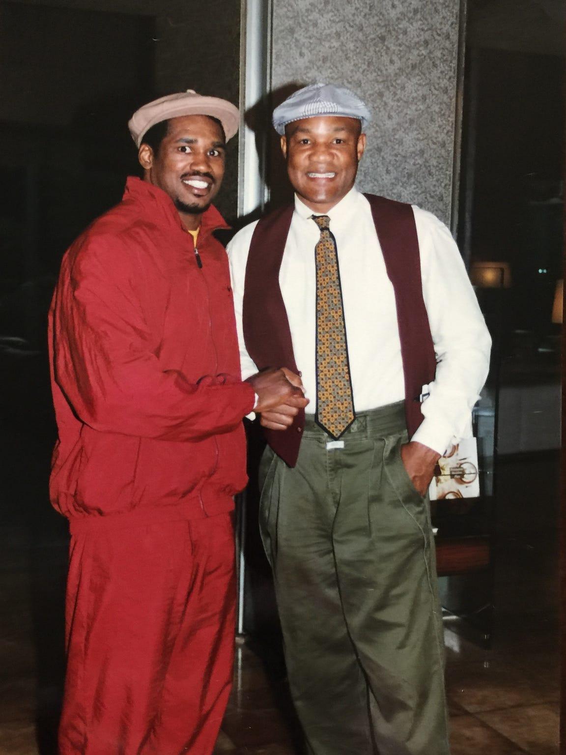 Alonzo Highsmith and former world heavyweight champion George Foreman.