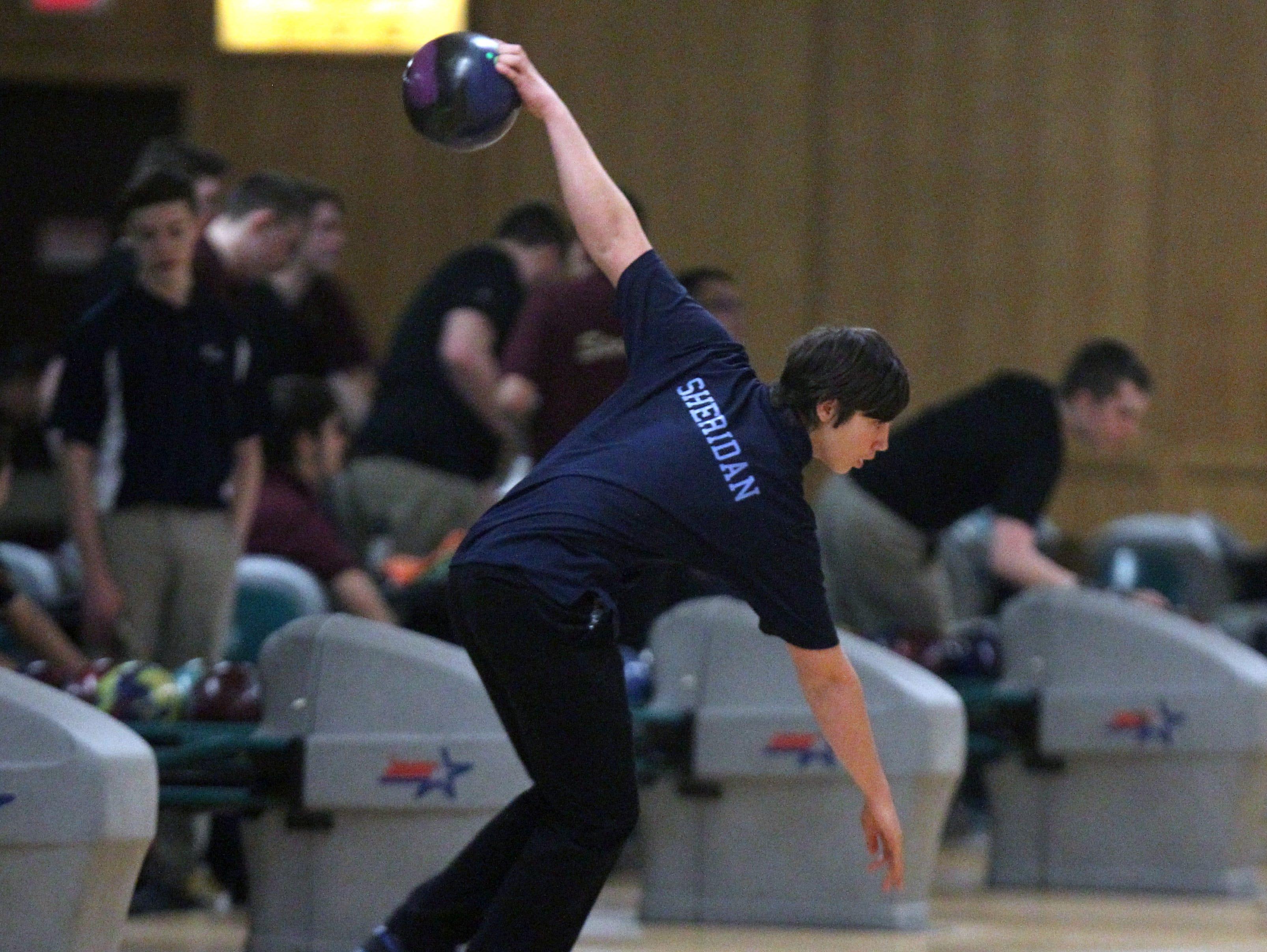John Jay High School's Michael Sheridan bowls in the Section 1 tournament at Fishkill Bowl on Feb. 7.