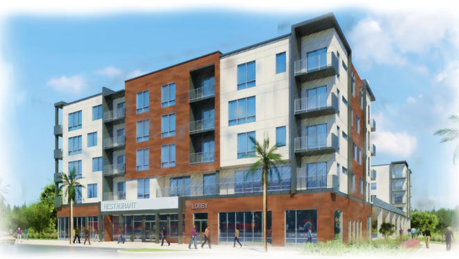 This artist's rendering depicts the future Highline Apartments at the former Melbourne High site. This angle shows the building facing New Haven Avenue.
