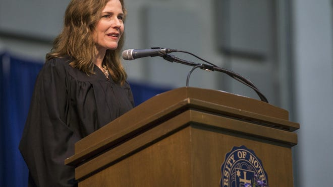 Amy Coney Barrett, United States Court of Appeals for the Seventh Circuit judge, speaks during the University of Notre Dame's Law School commencement ceremony on Saturday, May 19, 2018, at the University of Notre Dame in South Bend, Ind.