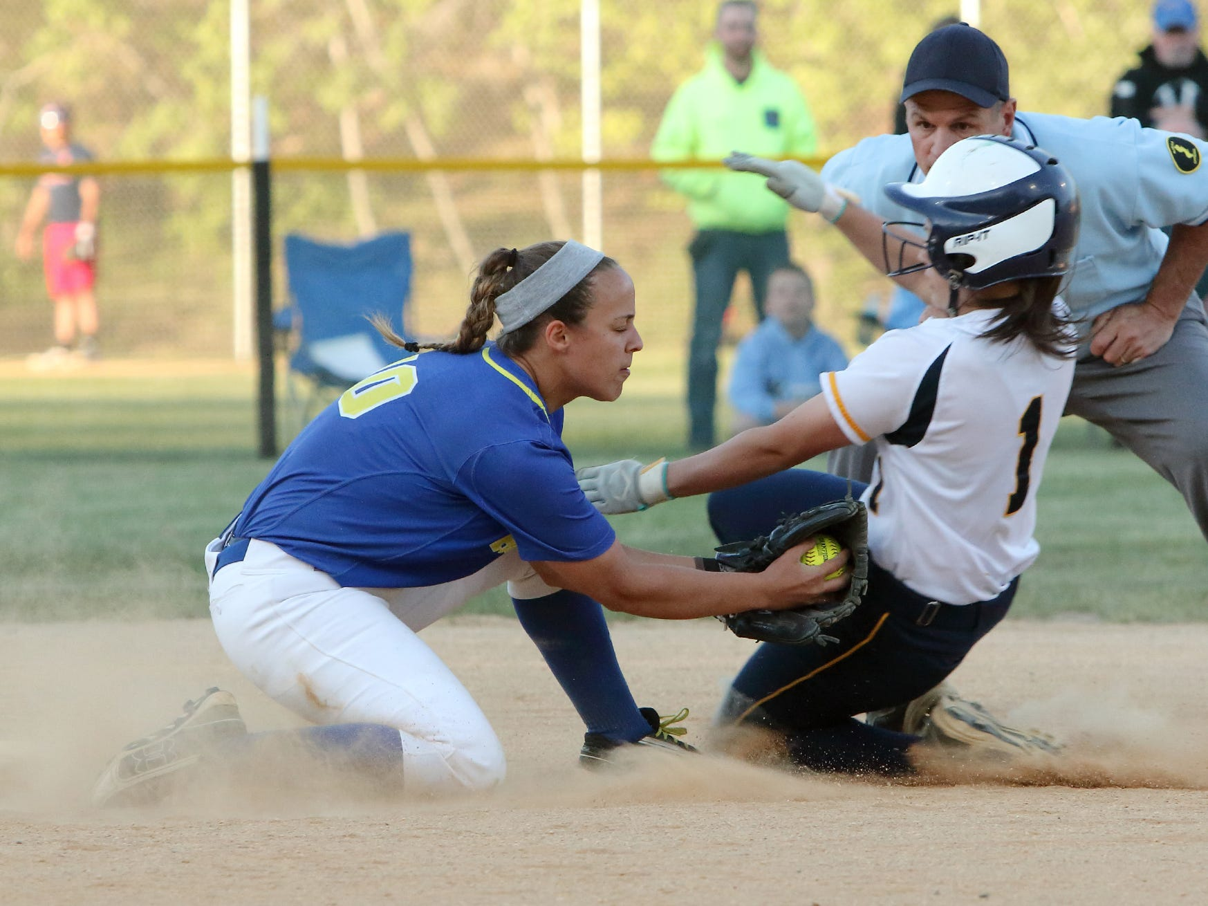 Jefferson's Amanda Delfino is caught stealing in the first inning as Butler's Aleksandra Apkarian applies the tag during their Morris County Tournament final at Peterson Field on Thursday.