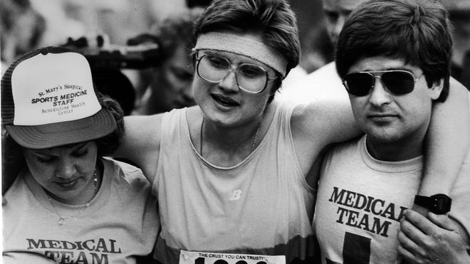 Jan Ettle following her victory at Grandma's Marathon in 1982. She won in a time of 2:41:20.