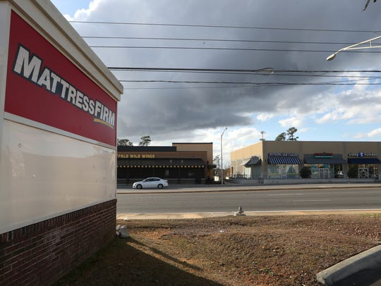 Two mattress stores, Mattress Firm and Sleep Number, set across the street from each other on Magnolia Drive, between Park Avenue and Apalachee Parkway.