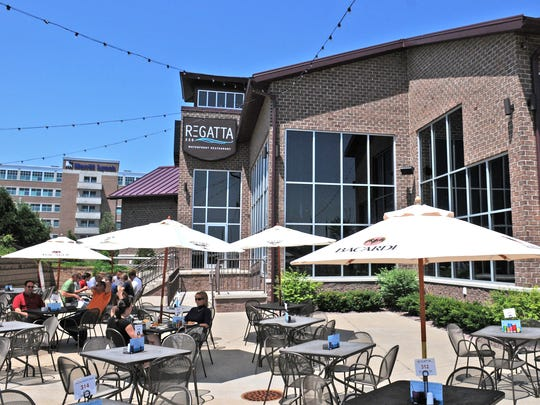 The patio at Regatta 220, 465 Marina Lane.