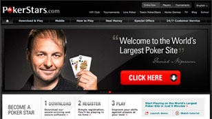 The PokerStars online poker site, shown in a promotional image, is part of a $4.9 billion transaction.