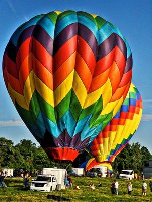 Bright balloons at the  Hudson Valley Hot-Air Balloon Festival.