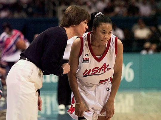 Coach Tara VanDerveer with Dawn Staley, a young star