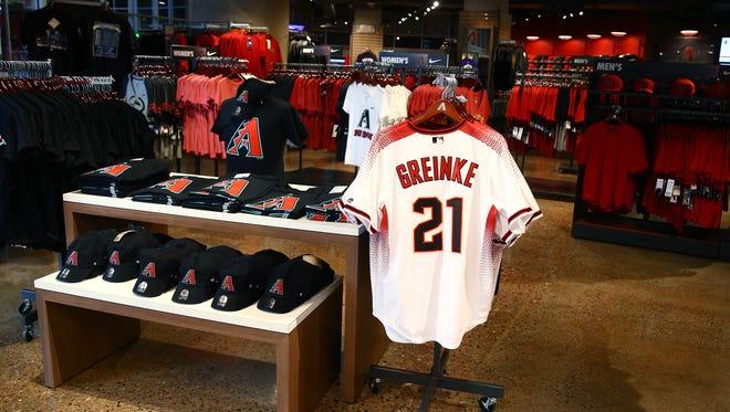 Dec 11, 2015: General view of Zack Greinke jerseys for sale in the Arizona Diamondbacks team shop at Chase Field .