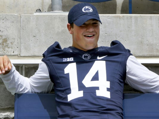 Penn State quarterback Christian Hackenberg relaxes during the team's annual media day last week. After a disappointing sophomore season, Hackenberg says he's much more comfortable heading into his junior campaign.