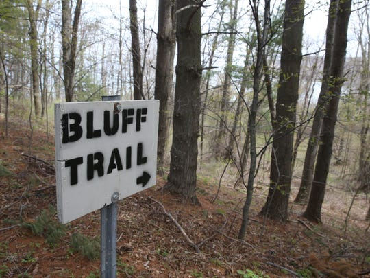 The Bluff Trail runs the full length, east to west, of Chimney Bluffs State Park.