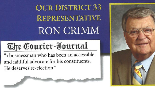 Mailer sent by state Rep. Ron Crimm's campaign.