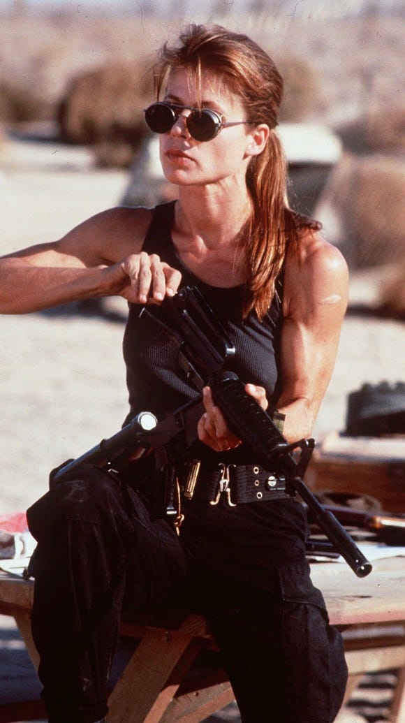 Sarah Connor (Linda Hamilton) is driven by her need