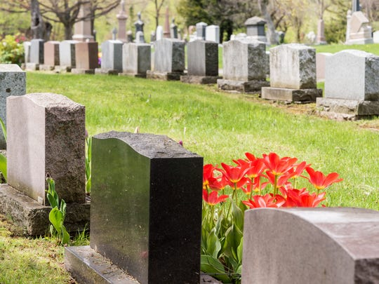 Headstones in a cemetery.