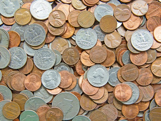 Pile of the US coins.