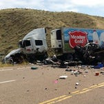 The site of a crash one mile north of Loma on U.S. Highway 87 on Monday.