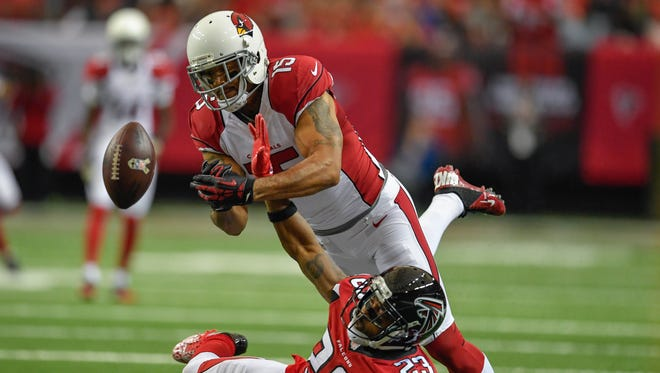 Nov 27, 2016: Atlanta Falcons cornerback Robert Alford (23) breaks up a pass intended for Arizona Cardinals wide receiver Michael Floyd (15) during the second half at the Georgia Dome. The Falcons defeated the Cardinals 38-19.