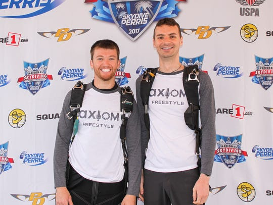Skydiver/team videographer Jason Brigmon (left) and