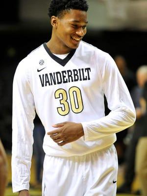 Vanderbilt forward/guard Damian Jones smiles during a media day at Memorial Gym in Nashville, Tenn., Thursday, Oct. 7, 2014.