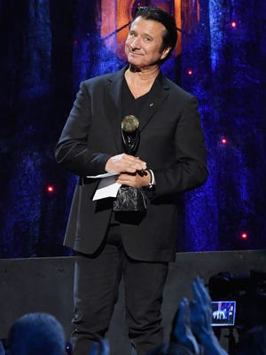 Inductee Steve Perry of Journey speaks onstage at the 32nd Annual Rock & Roll Hall Of Fame Induction Ceremony at Barclays Center on April 7, 2017 in New York City.