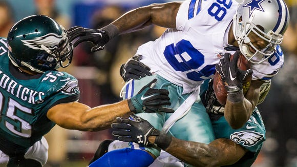 Cowboys wide receiver Dez Bryant had three touchdown catches against the Eagles in a Dec. 2014 game.