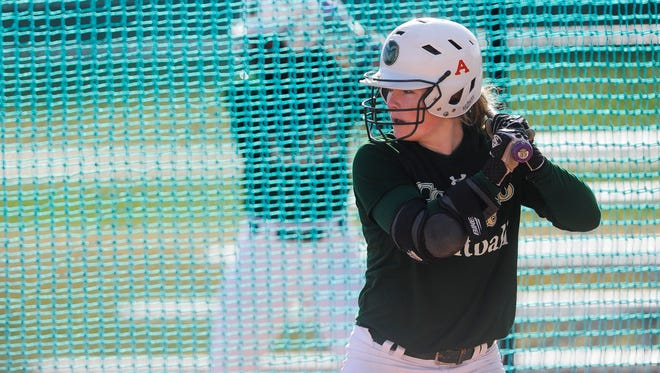 CSU shortstop Haley Hutton, seen here in a 2014 file photo, went 3 for 3 at the plate Sunday vs. Fresno State.