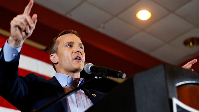 Eric Greitens talks to a crowd attending a campaign event held at the University Plaza Hotel in Springfield on Oct. 6 in support of his bid for the Missouri governor's office.