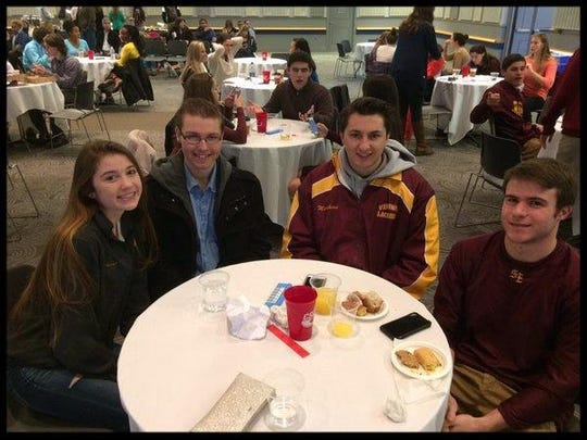 St. Elizabeth High School seniors, from left, Leighton Trimarco, John Paul Moryc, Brian Marchioni and Michael Ricci were one of three St. Elizabeth teams at WorldQuest 2016 Competition at the University of Delaware.
